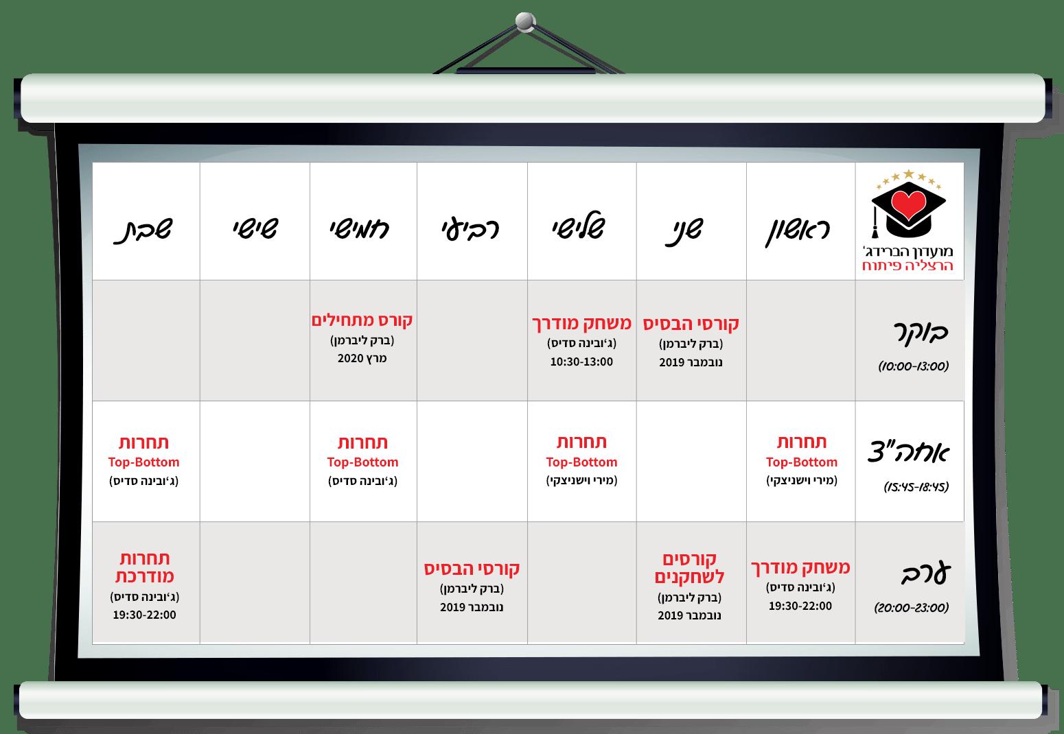 לוח פעילויות - מועדון הברידג' הרצליה פיתוח